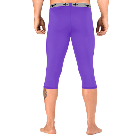 Elite Sports Three Quarter Purple Compression Bjj Spat Pants