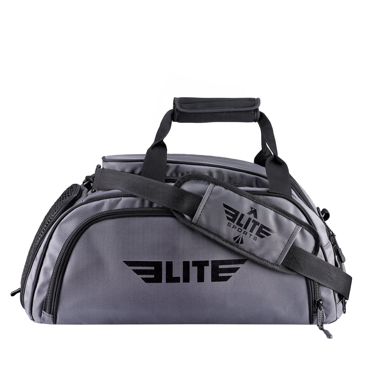 Elite Sports Warrior Series Medium Grey Boxing MMA BJJ Gear Gym Duffel Bag & Backpack