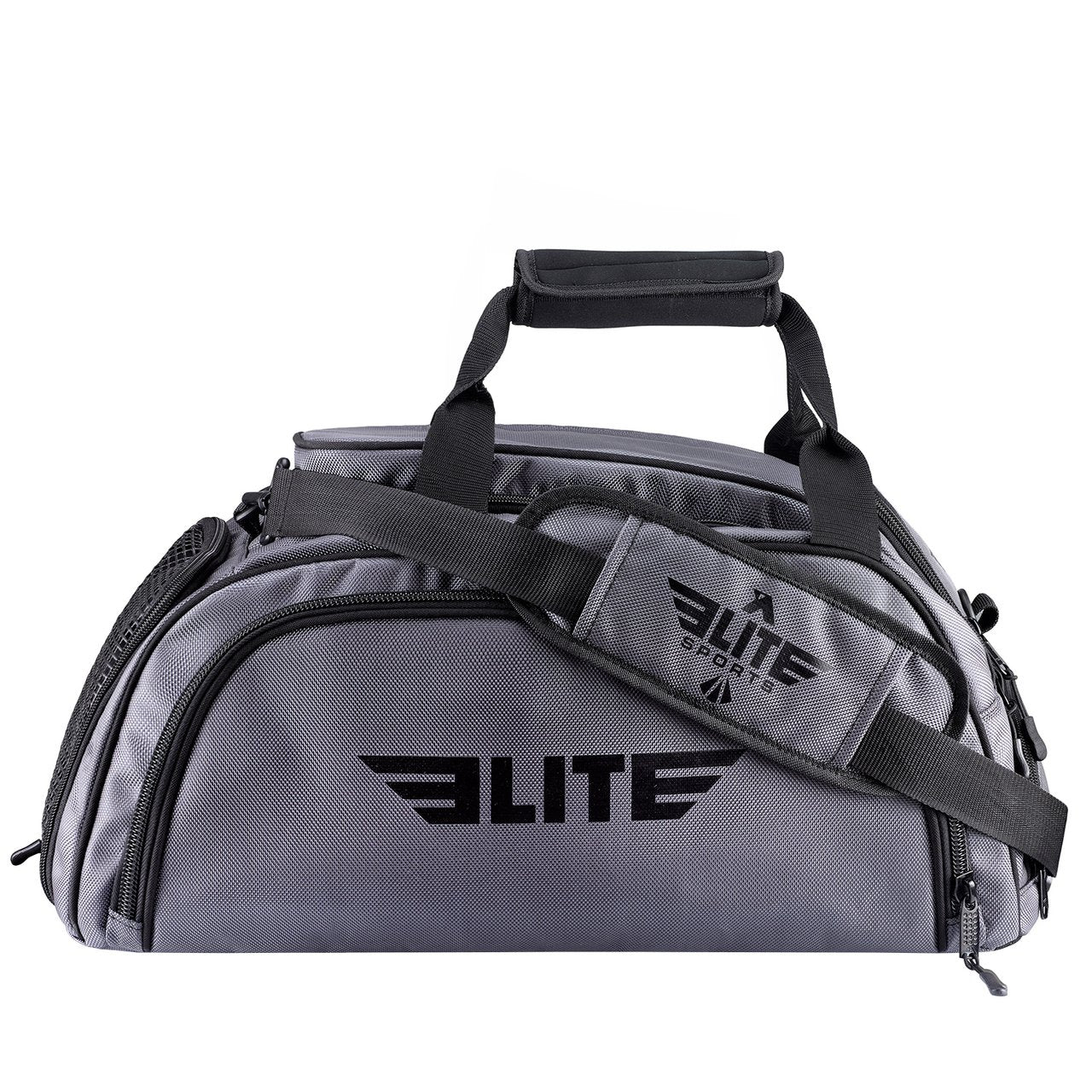 Elite Sports Warrior Series Large Grey Boxing MMA BJJ Gear Gym Duffel Bag & Backpack