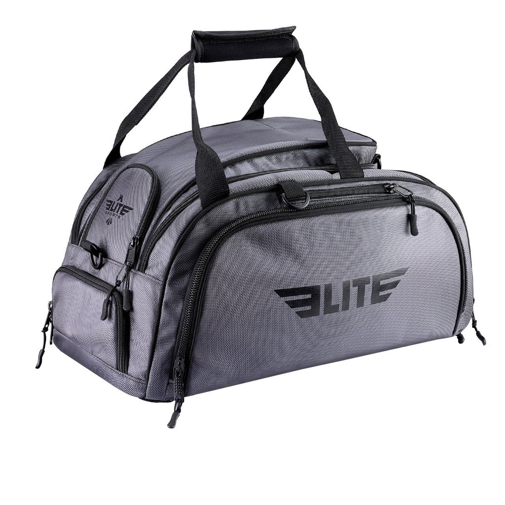 Elite Sports Warrior Series Medium Gray Boxing MMA BJJ Gear Gym Duffel Bag & Backpack