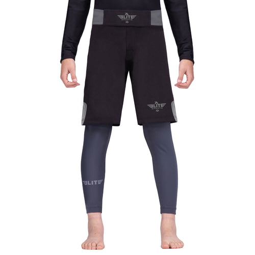 Elite Sports Jack Series Black/Gray Kids Bjj NO-GI Shorts