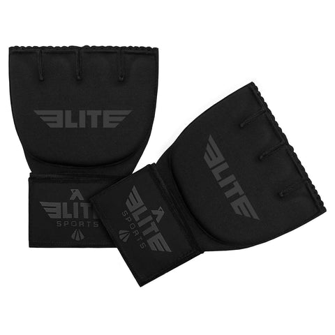 Elite Sports Black/Gray Cross Muay Thai Quick Gel Hand Wraps