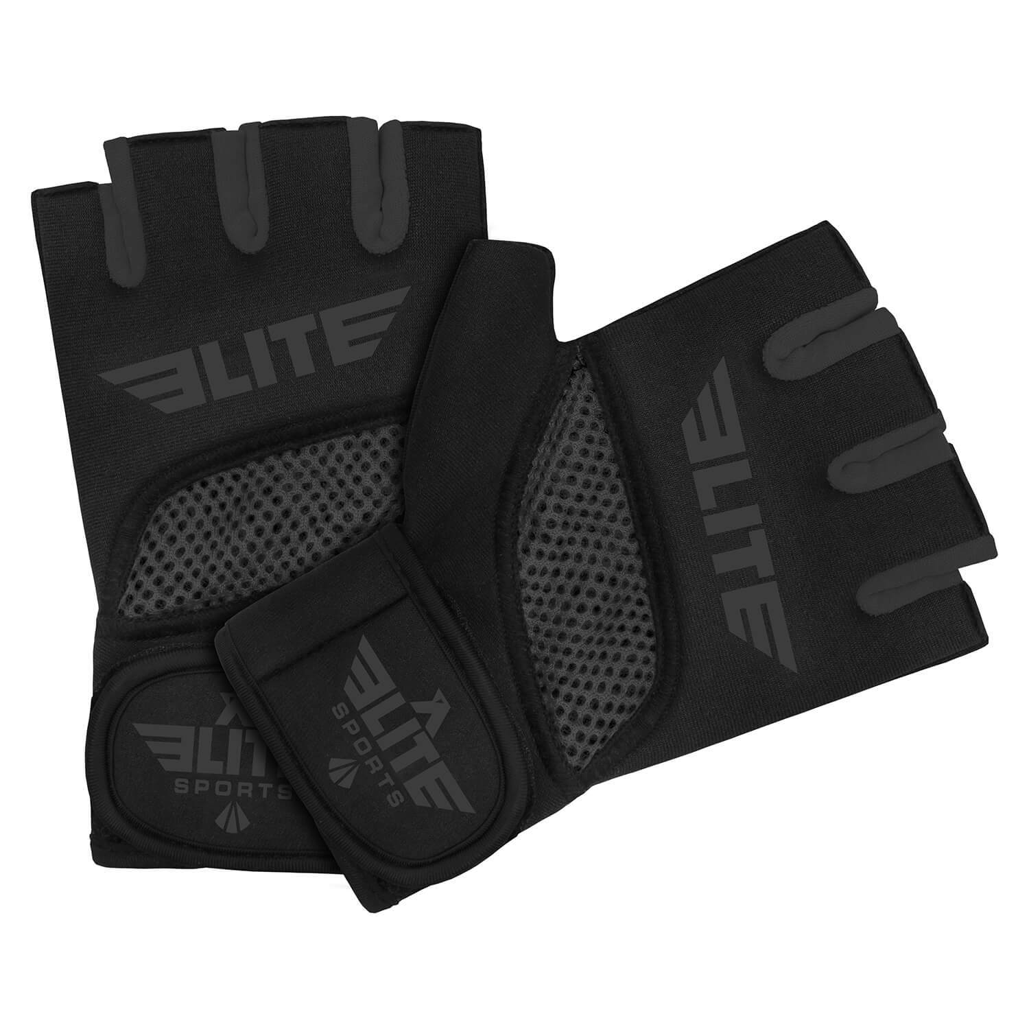 Load image into Gallery viewer, Elite Sports Black/Gray Cross Training Gel Hand Wraps