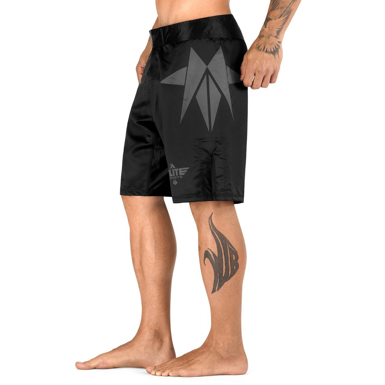 Load image into Gallery viewer, Elite Sports Star Series Sublimation Black/Gray Wrestling Shorts
