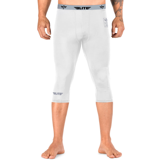 Elite Sports Three Quarter White Compression Boxing Spat Pants