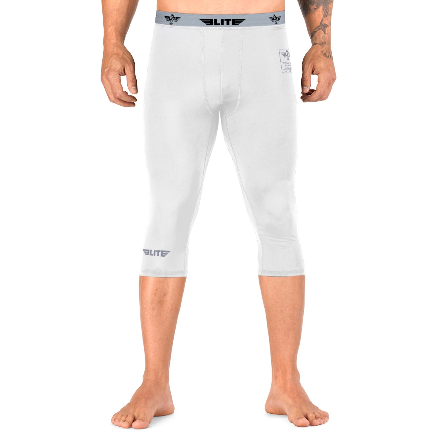 Elite Sports Three Quarter White Compression Karate Spat Pants