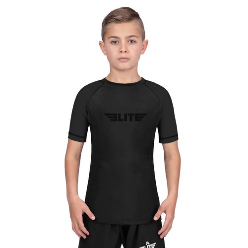 Elite Sports Standard Black Short Sleeve Kids BJJ Rash Guard