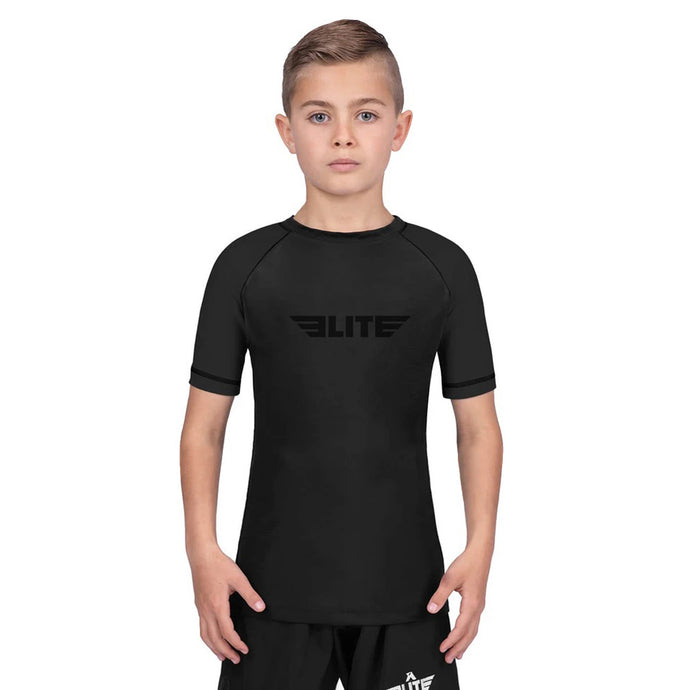 Elite Sports Standard Black Short Sleeve Kids Wrestling Rash Guard