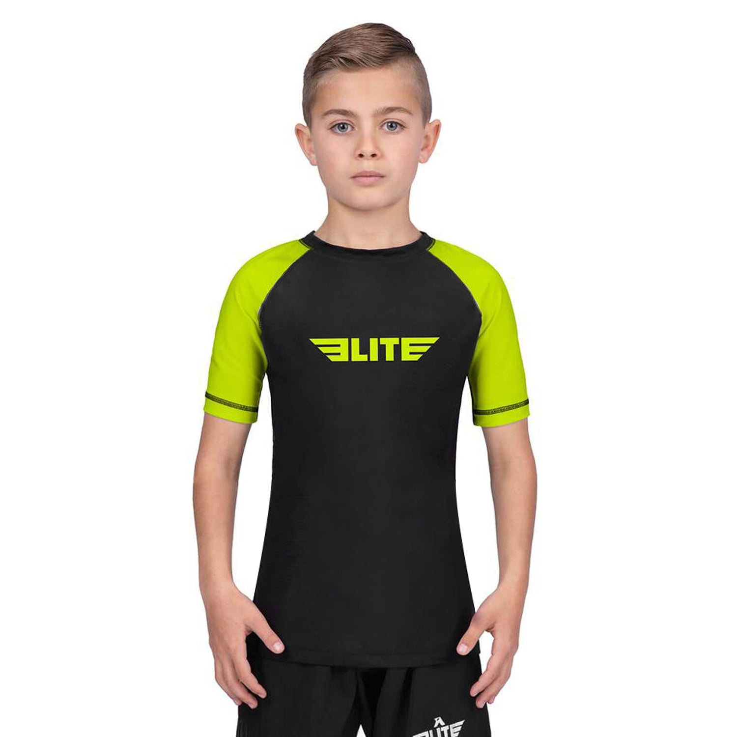 Elite Sports Standard Hi-Viz/Black Short Sleeve Kids Muay Thai Rash Guard