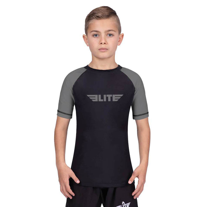 Elite Sports Standard Gray/Black Short Sleeve Kids Wrestling Rash Guard