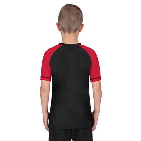 Elite Sports Standard Red/Black Short Sleeve Kids Wrestling Rash Guard