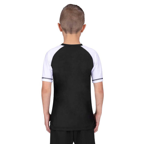 Elite Sports Standard White/Black Short Sleeve Kids boxing Rash Guard