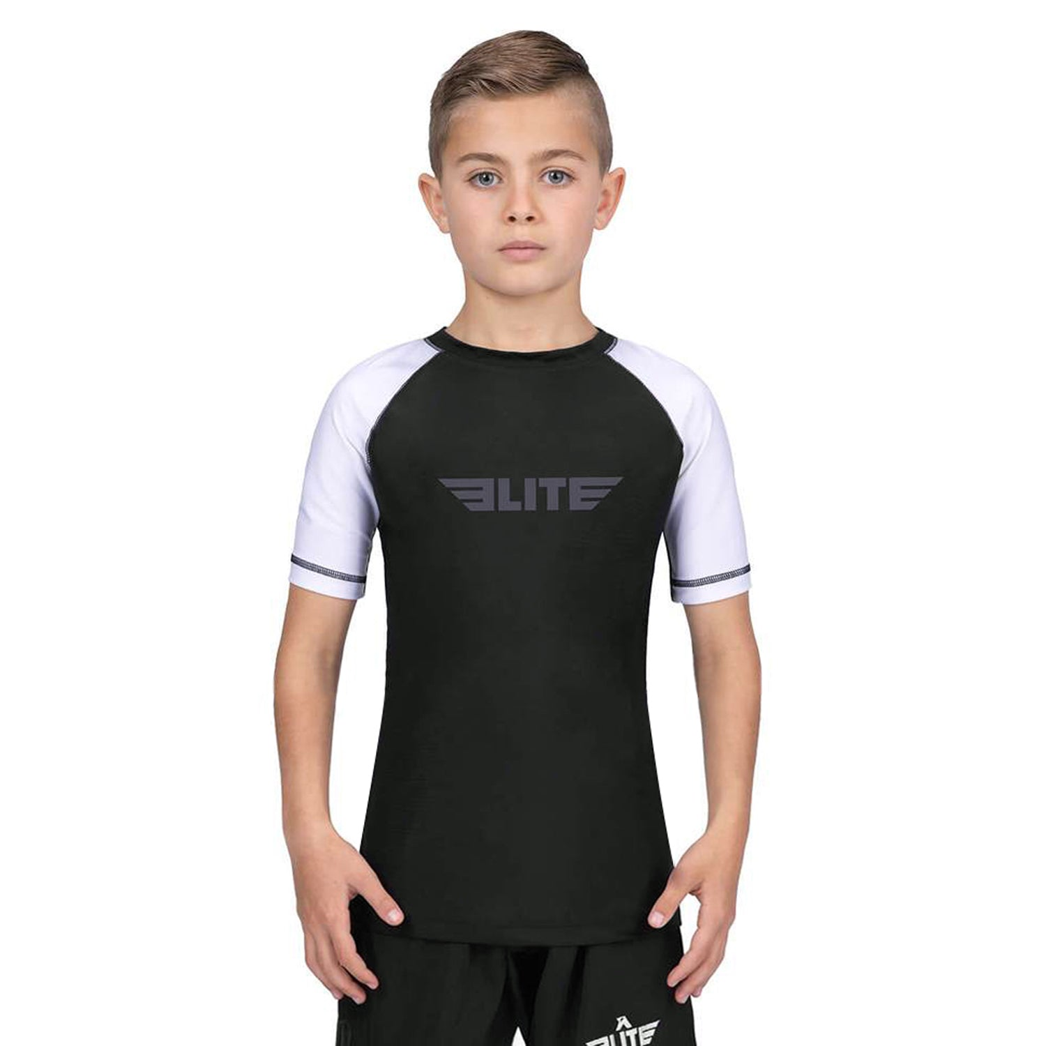 Elite Sports Standard White/Black Short Sleeve Kids Muay Thai Rash Guard