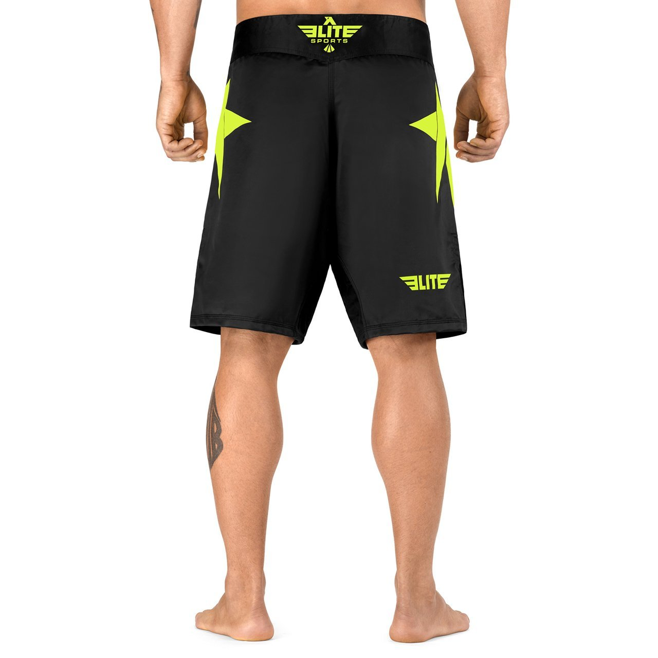 Load image into Gallery viewer, Elite Sports Star Series Sublimation Black/Hi Viz MMA Shorts