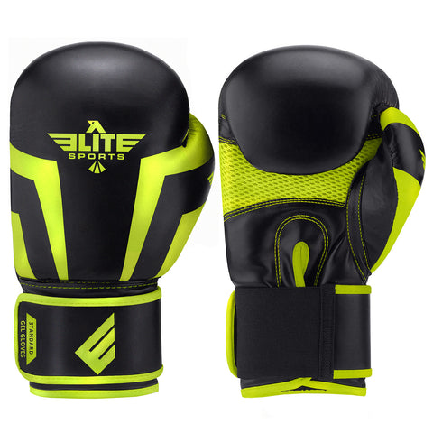 Elite Sports Standard Series Black/Hi Viz Adult Boxing Gloves