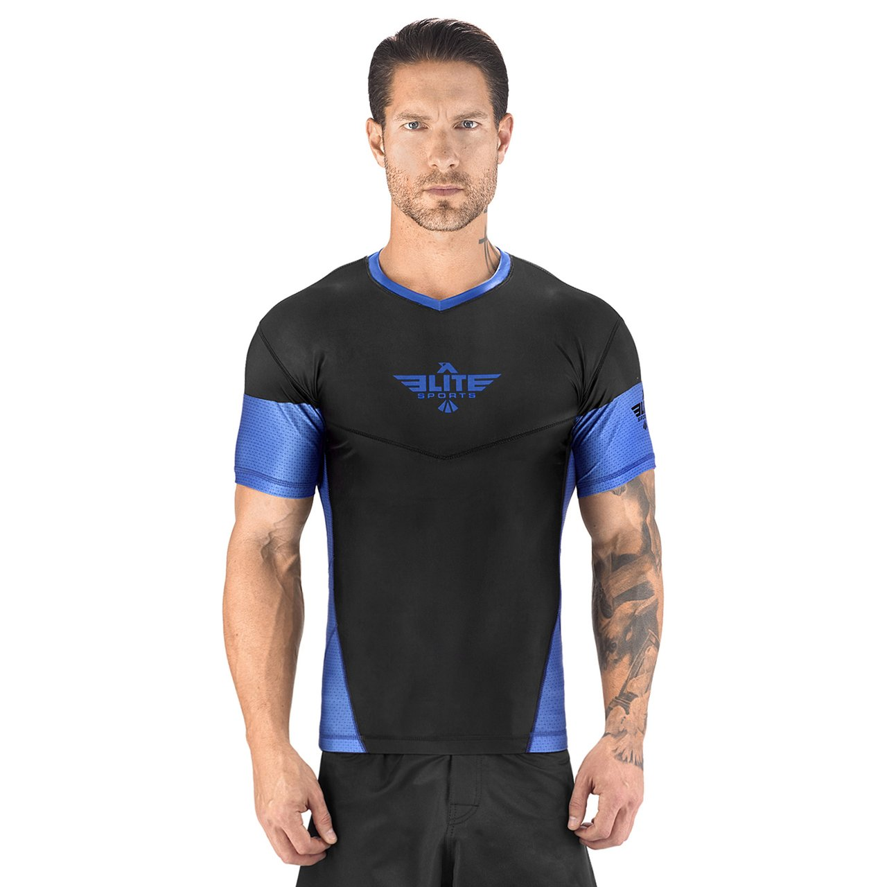Elite Sports Honey Comb Sublimation Black/Blue Short Sleeve MMA Rash Guard