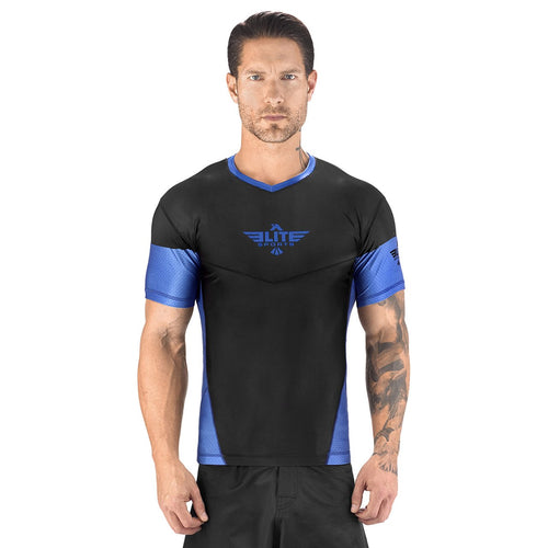 Elite Sports Honey Comb Sublimation Black/Blue Short Sleeve Rash Guard