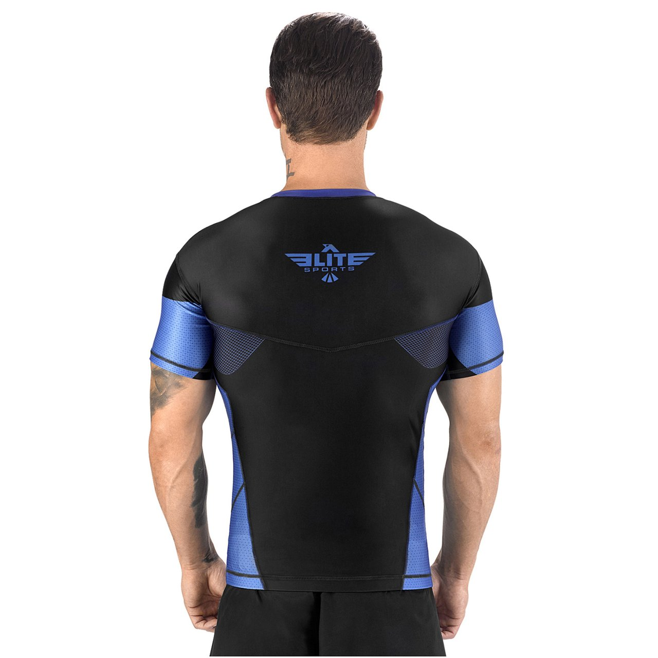 Load image into Gallery viewer, Elite Sports Honey Comb Sublimation Black/Blue Short Sleeve Muay Thai Rash Guard