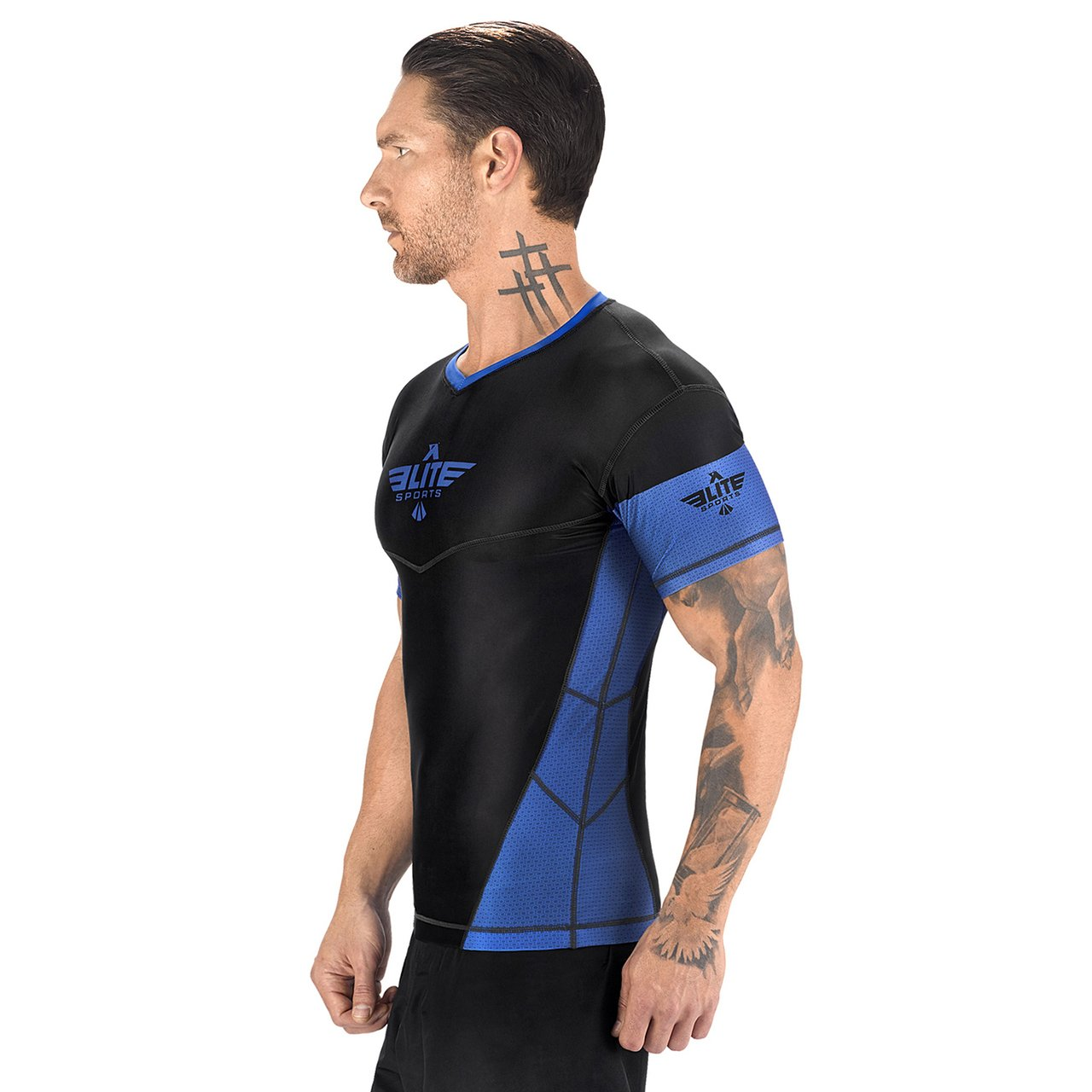 Load image into Gallery viewer, Elite Sports Honey Comb Sublimation Black/Blue Short Sleeve MMA Rash Guard