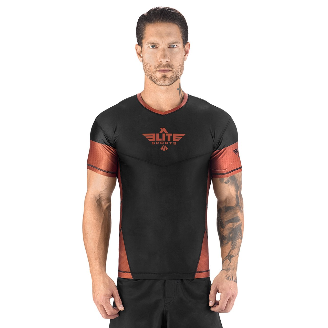 Elite Sports Honey Comb Sublimation Black/Brown Short Sleeve MMA Rash Guard