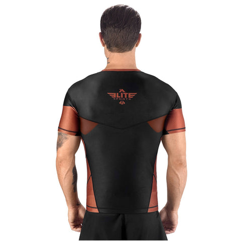 Elite Sports Honey Comb Sublimation Black/Brown Short Sleeve Muay Thai Rash Guard