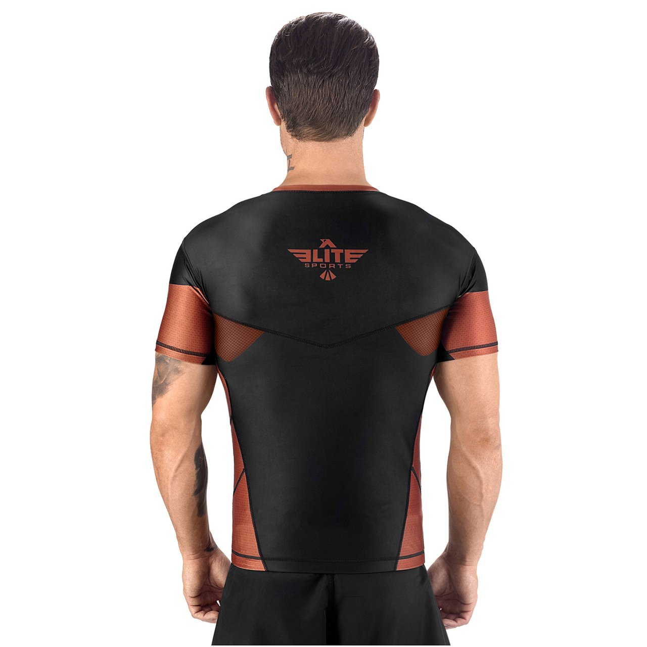 Load image into Gallery viewer, Elite Sports Honey Comb Sublimation Black/Brown Short Sleeve MMA Rash Guard