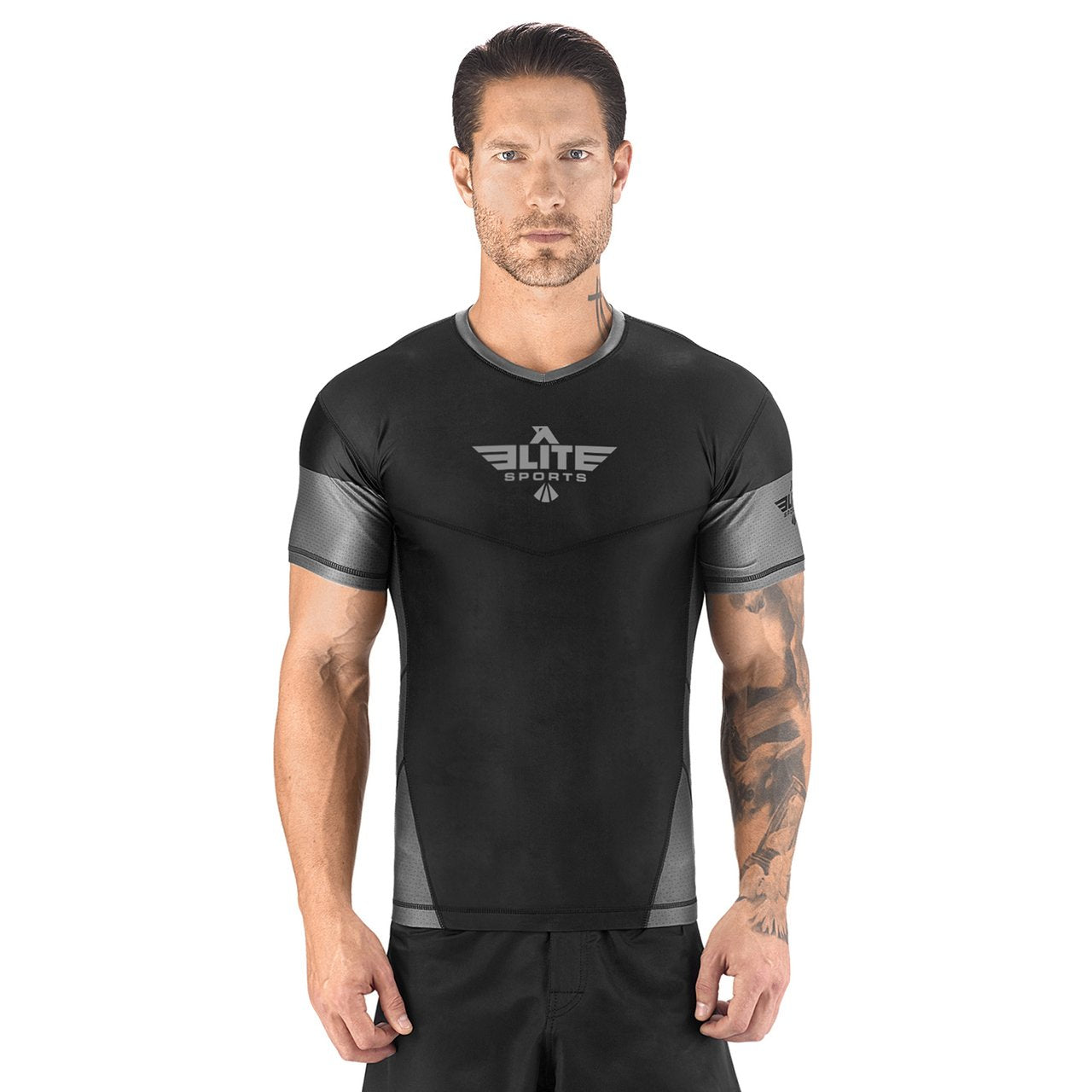 Load image into Gallery viewer, Elite Sports Honey Comb Sublimation Black/Gray Short Sleeve Rash Guard
