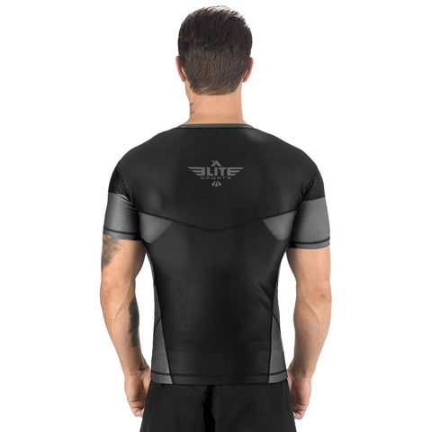 Elite Sports Honey Comb Sublimation Black/Gray Short Sleeve Training Rash Guard