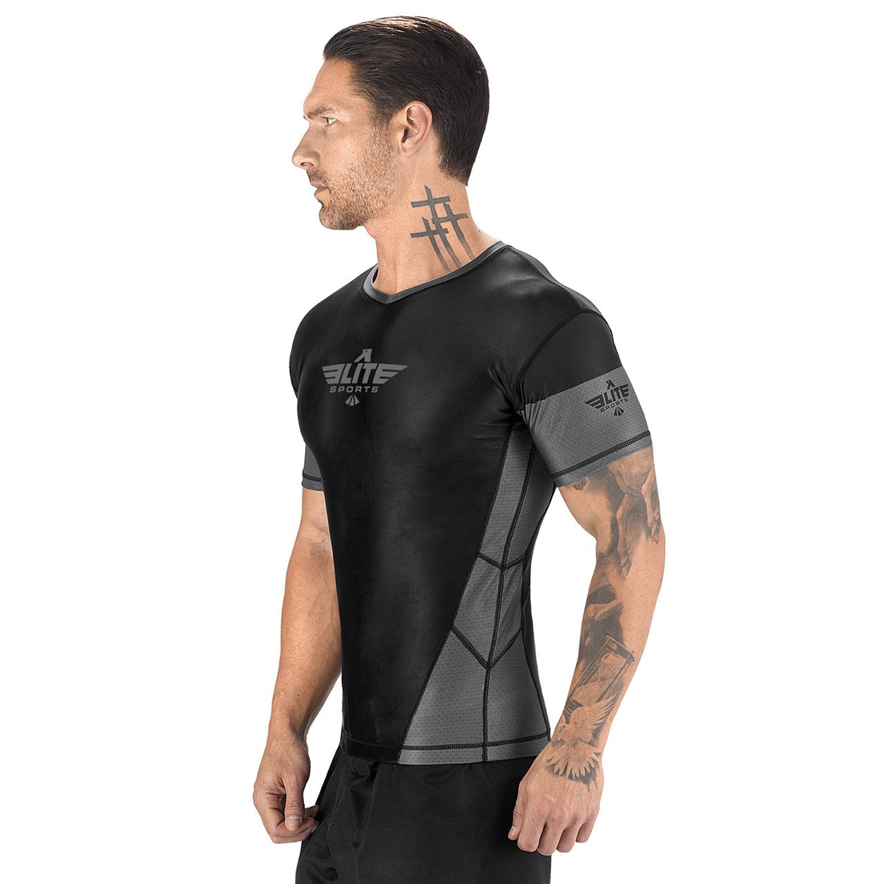 Load image into Gallery viewer, Elite Sports Honey Comb Sublimation Black/Gray Short Sleeve MMA Rash Guard