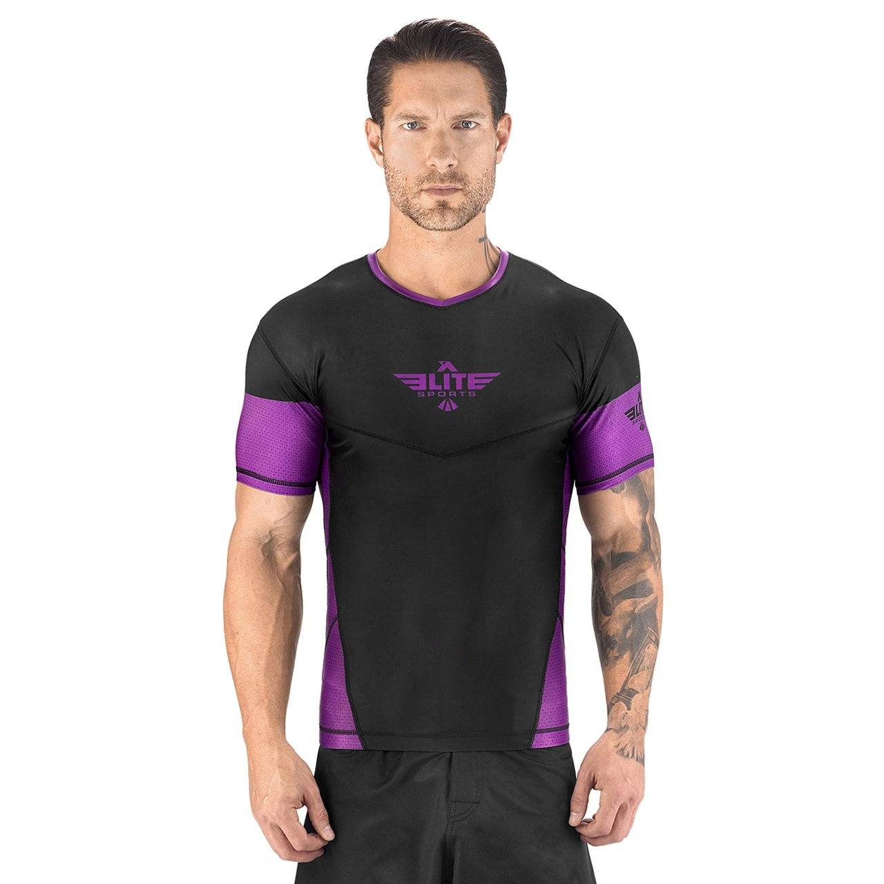 Load image into Gallery viewer, Elite Sports Honey Comb Sublimation Black/Purple Short Sleeve Wrestling Rash Guard