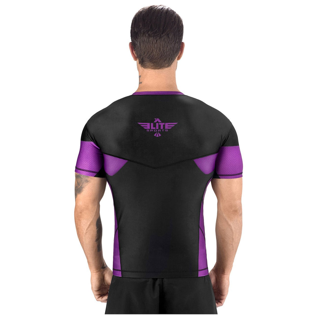Elite Sports Honey Comb Sublimation Black/Purple Short Sleeve Wrestling Rash Guard