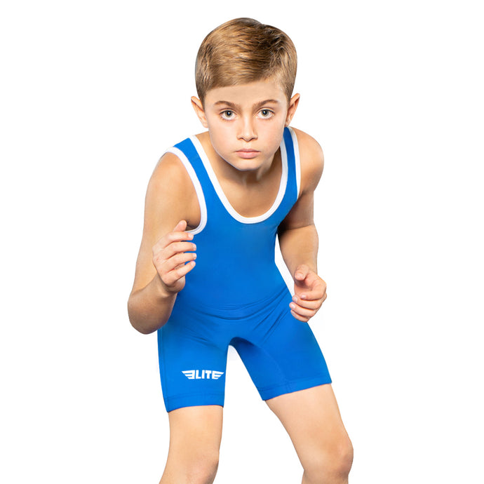 Elite Sports Standard Series Blue Kids Wrestling Singlets