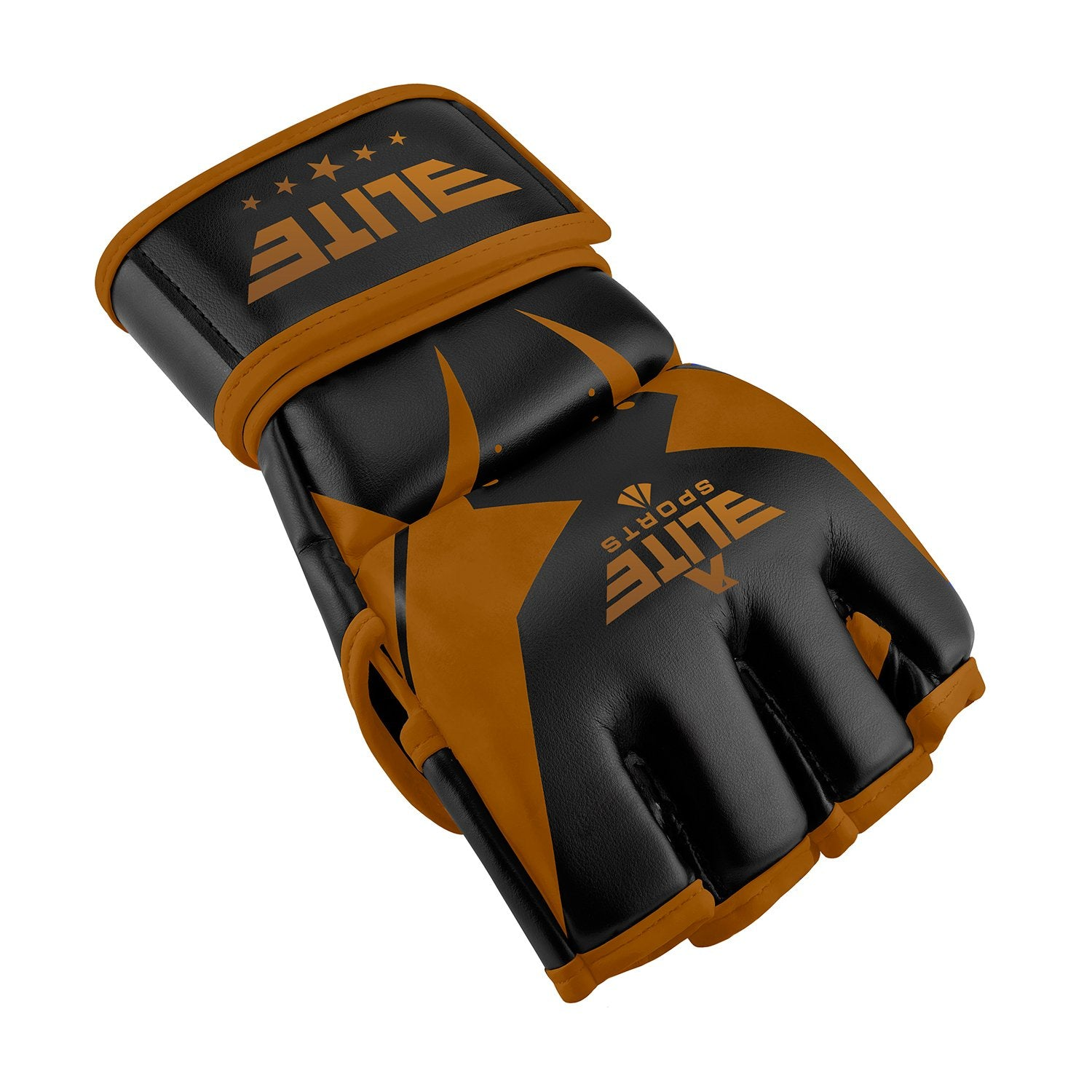 Load image into Gallery viewer, Elite Sports Pro Style Black/Copper MMA Half Mitts Grappling Gloves