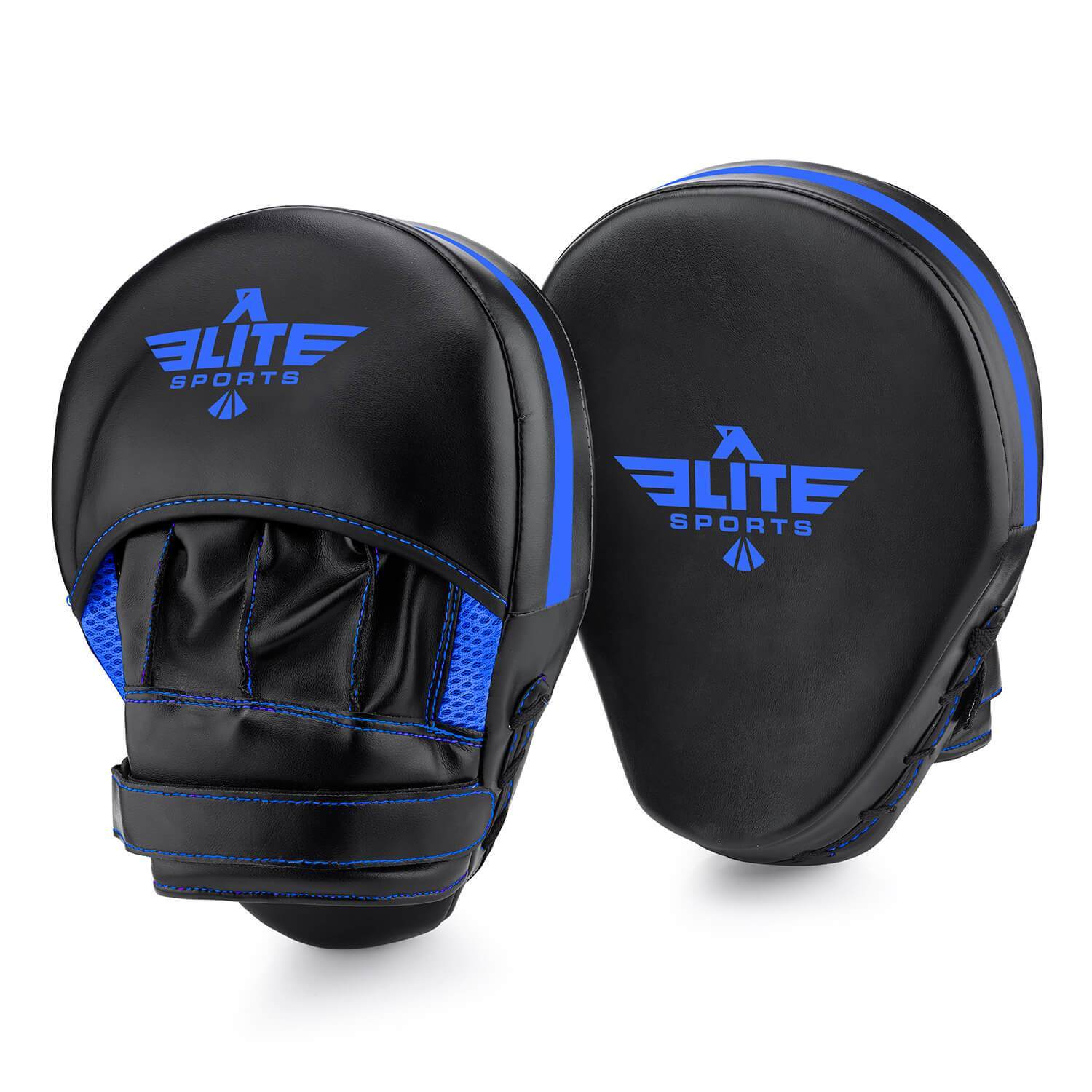 Load image into Gallery viewer, Elite Sports Essential Curved Black/Blue Training Punching Mitts