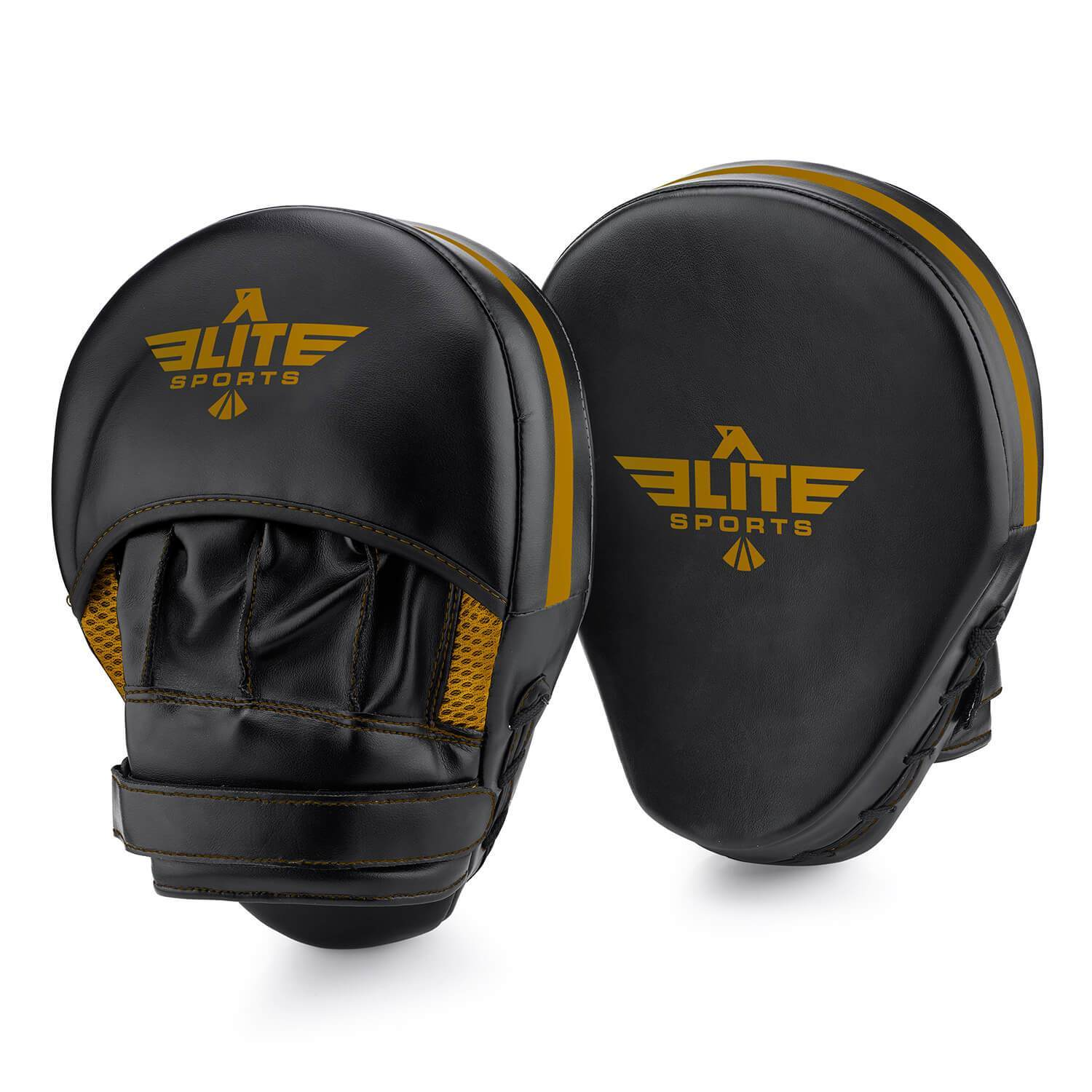 Load image into Gallery viewer, Elite Sports Essential Curved Black/Gold Training Punching Mitts