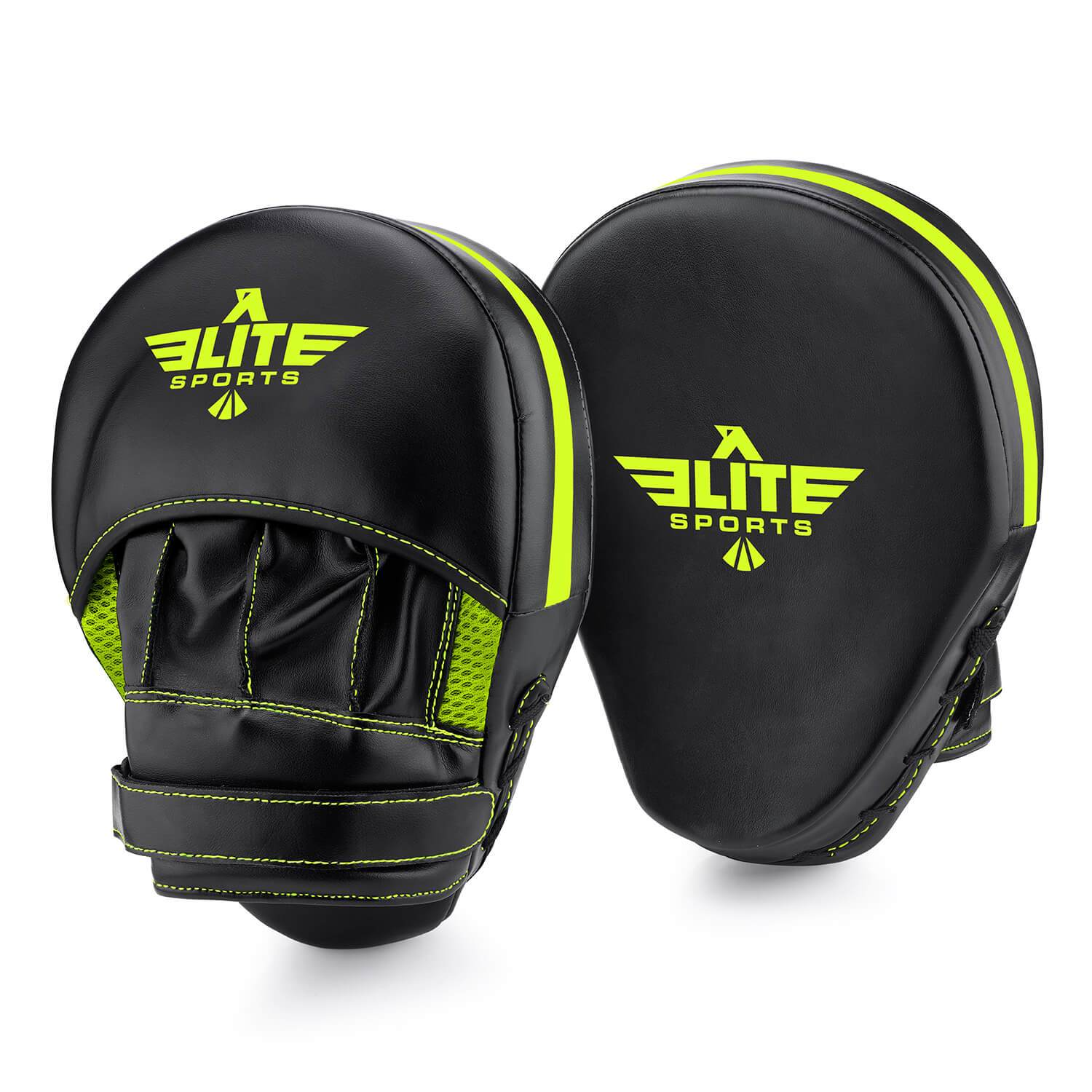 Load image into Gallery viewer, Elite Sports Essential Curved Black/Hi-Viz Training Punching Mitts