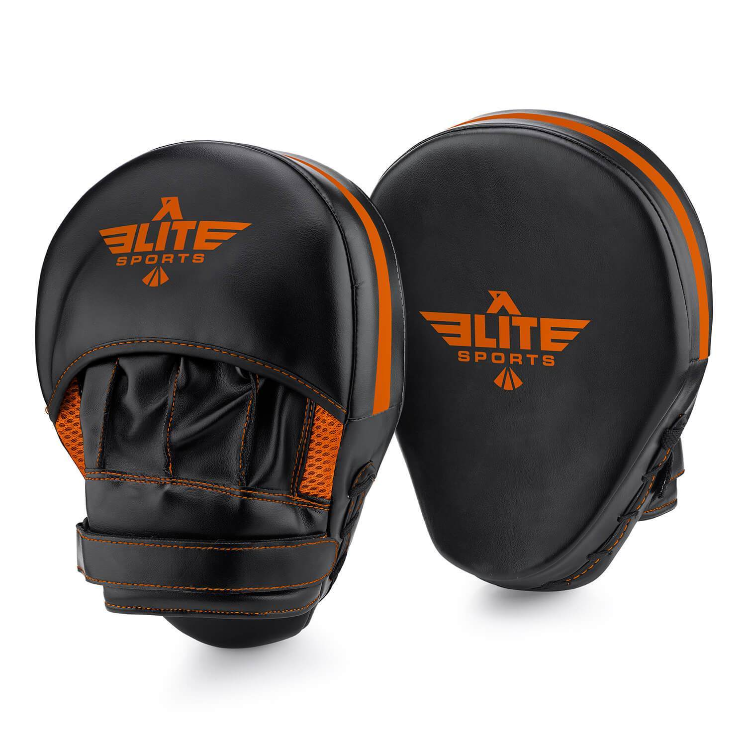 Load image into Gallery viewer, Elite Sports Essential Curved Black/Orange Boxing Punching Mitts