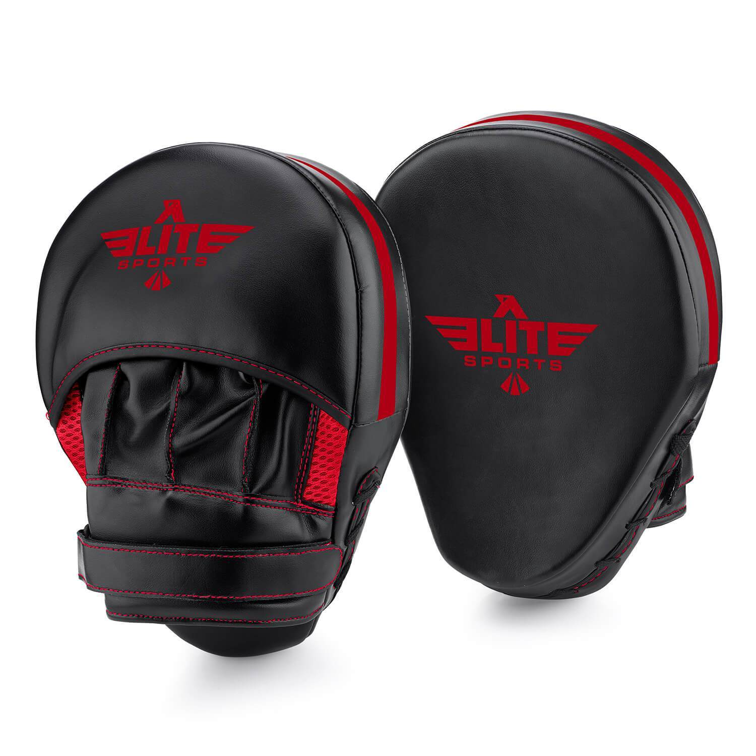 Load image into Gallery viewer, Elite Sports Essential Curved Black/Red Boxing Punching Mitts
