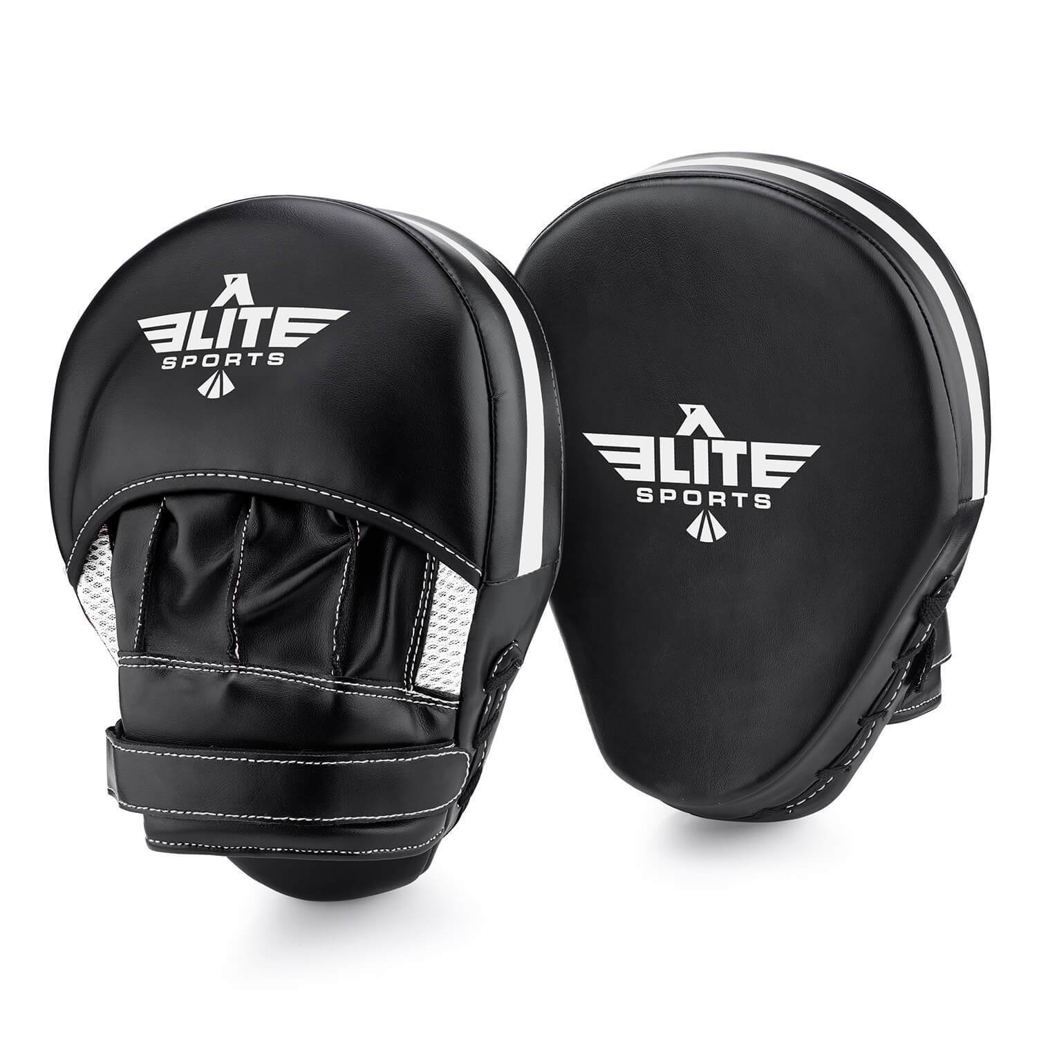 Load image into Gallery viewer, Elite Sports Essential Curved Black/Silver Training Punching Mitts