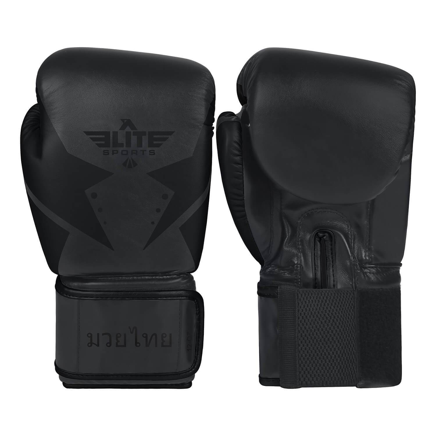 Load image into Gallery viewer, Elite Sports Star Series Black/Black Muay Thai Gloves