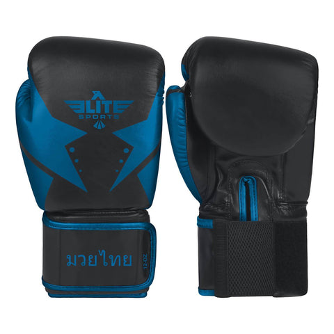 Elite Sports Star Series Black/Blue Muay Thai Gloves