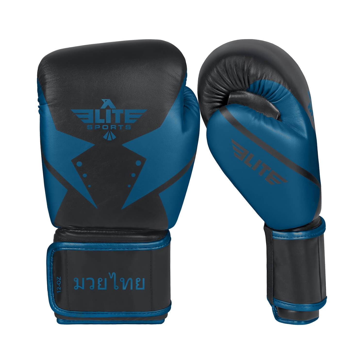Load image into Gallery viewer, Elite Sports Star Series Black/Blue Muay Thai Gloves