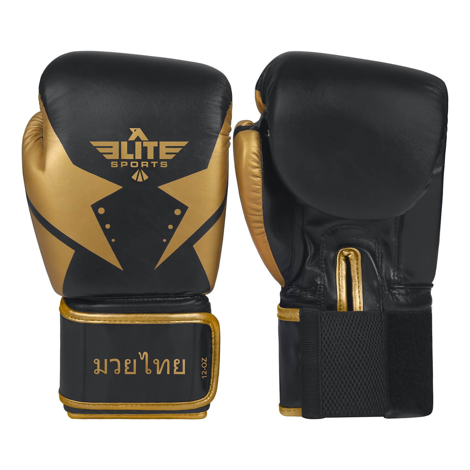 Load image into Gallery viewer, Elite Sports Star Series Black/Gold Muay Thai Gloves