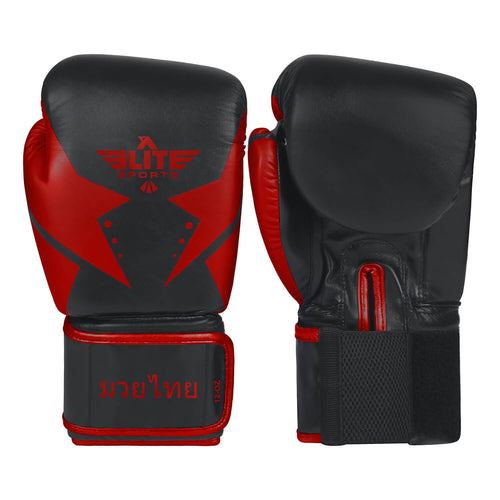 Elite Sports Star Series Black/Red Muay Thai Gloves