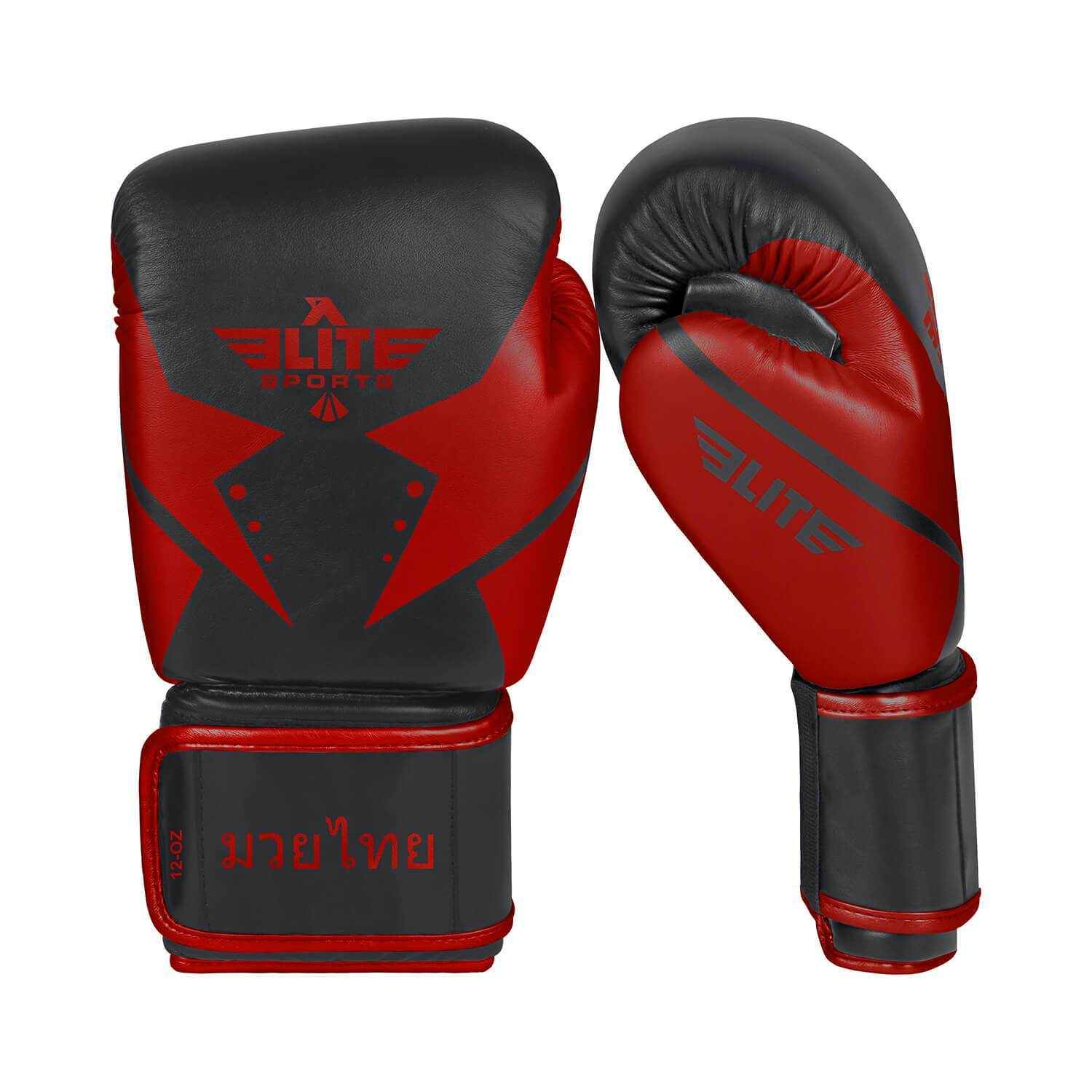 Load image into Gallery viewer, Elite Sports Star Series Black/Red Muay Thai Gloves