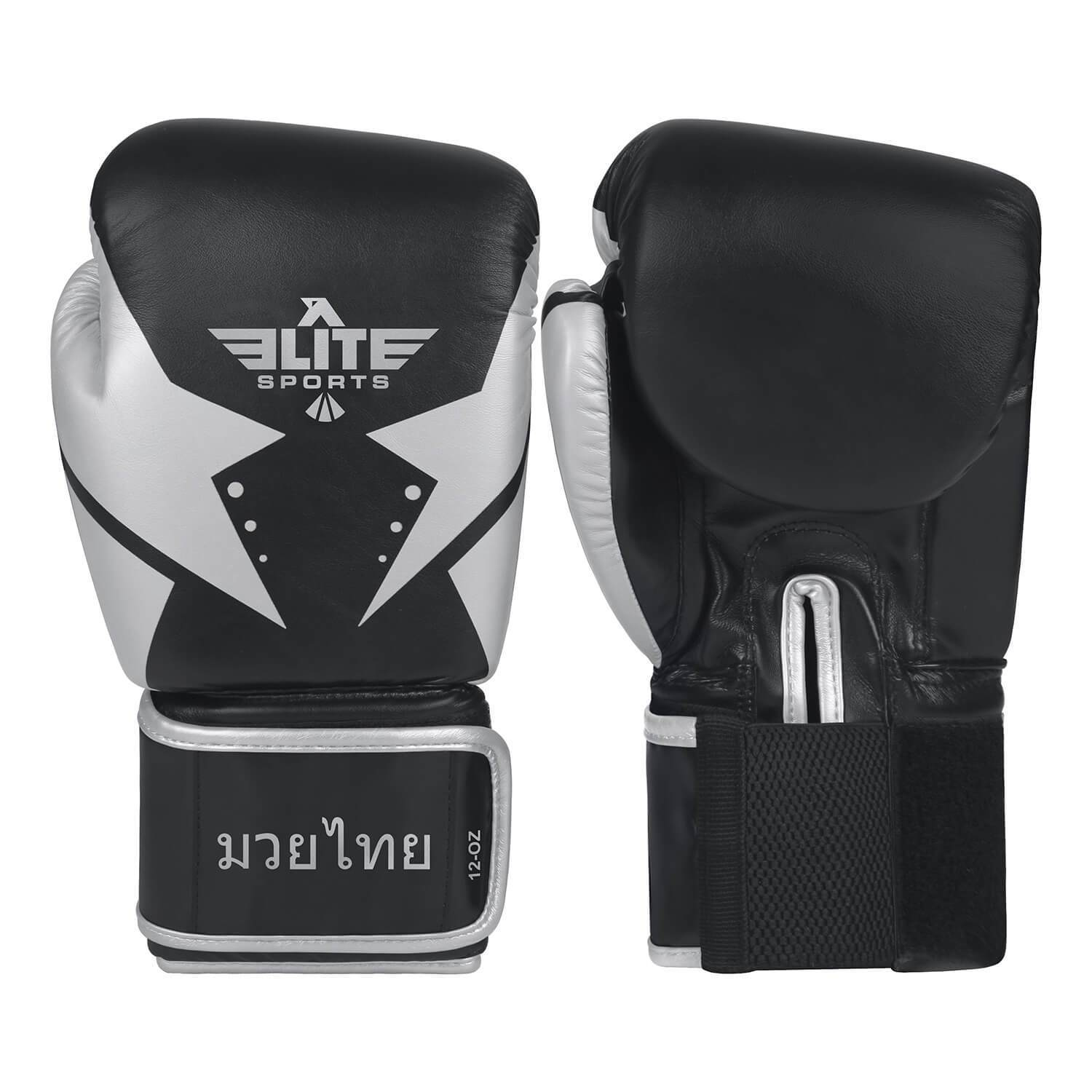 Load image into Gallery viewer, Elite Sports Star Series Black/Silver Muay Thai Gloves