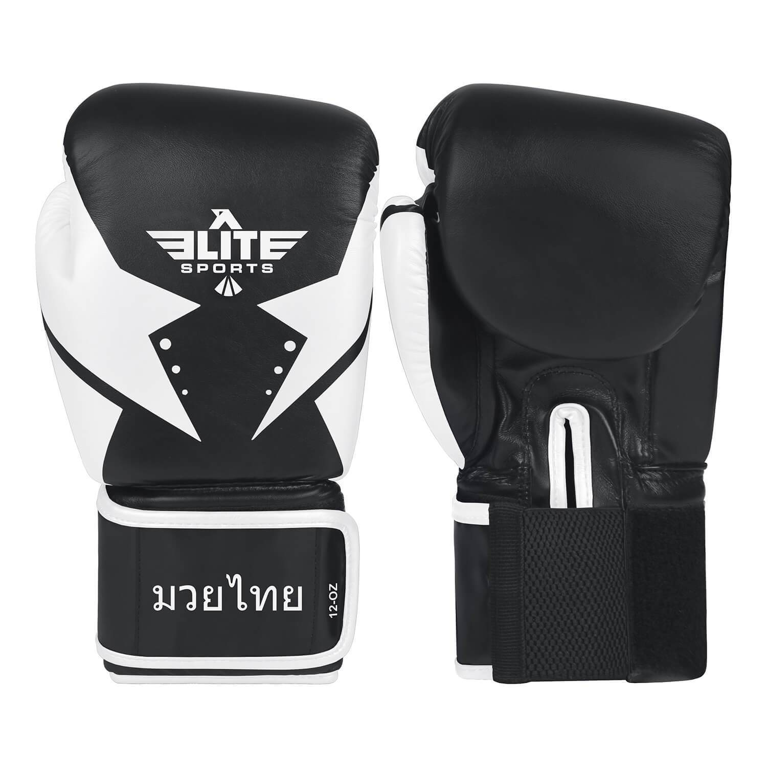 Load image into Gallery viewer, Elite Sports Star Series Black/White Muay thai Gloves