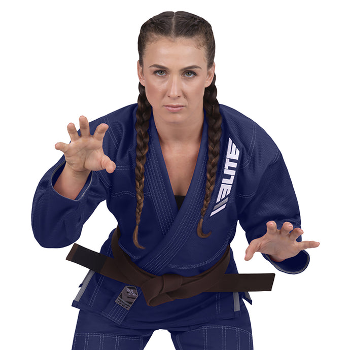 Elite Sports Ultra Light Preshrunk Navy Women Brazilian Jiu Jitsu BJJ Gi With Free White Belt