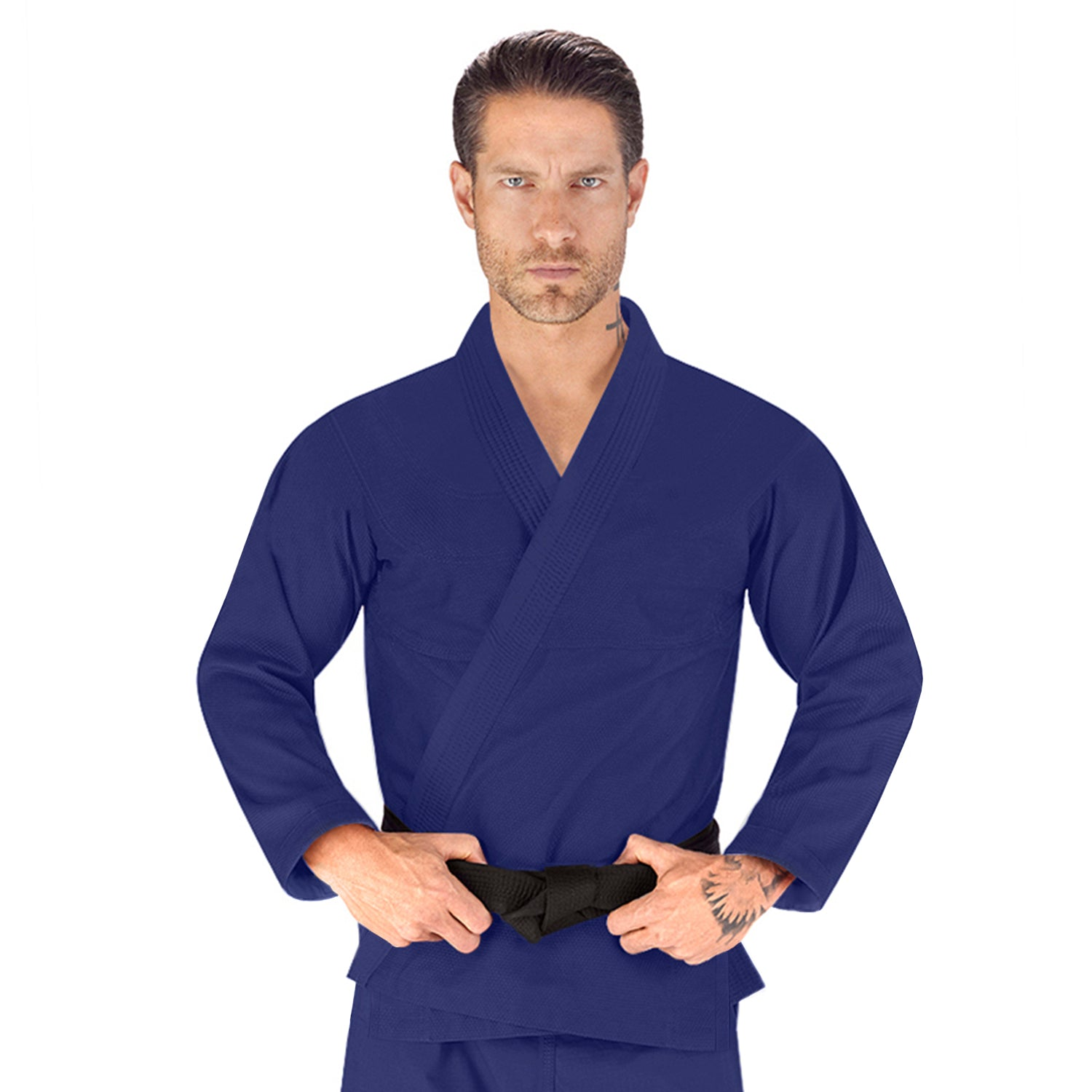 Elite Sports Essential Lightweight Preshrunk Navy Adult Brazilian Jiu Jitsu BJJ Gi With Free White Belt