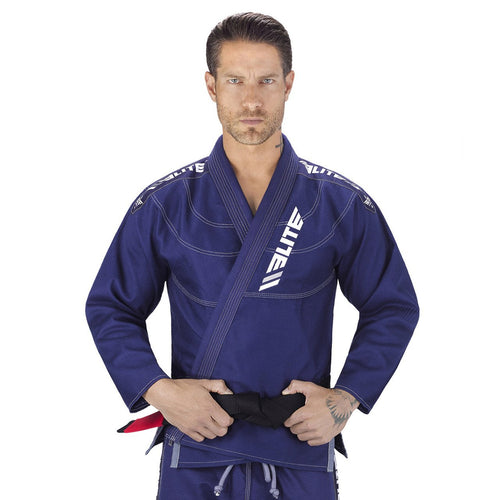 Elite Sports Ultra Light Preshrunk Navy Adult Brazilian Jiu Jitsu BJJ Gi With Free White Belt